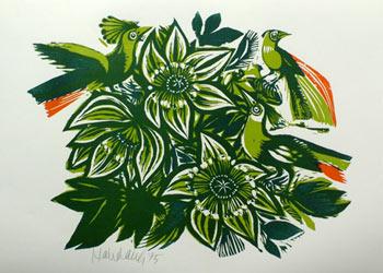 'Grüne Blumen und Vögel', 1975 - Walter Habdank. © Galerie Habdank