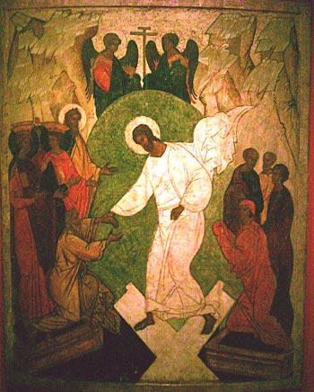 Ikonen-Musuem Recklinghausen: Auferstehungsikone Christi, russisch, 16. Jhd.