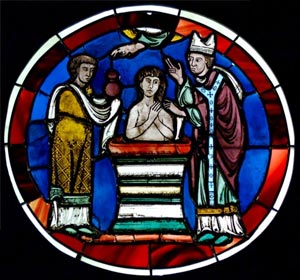 Scene of baptism. Stained glass, Paris, last quarter of the 12th century. From the Sainte-Chapelle of Paris
