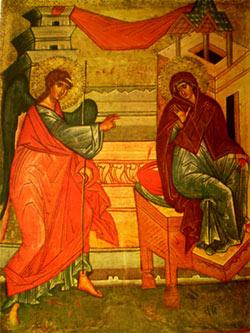 'Verkündigung an Maria', Russisch, 16 Jhd. Ikonenmuseum Recklinghausen