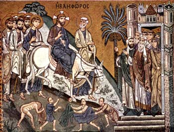 'Einzug Christi in Jerusalem', Mosaik in der Cappella Palatina, Palermo, 1150 (Yorck Project)