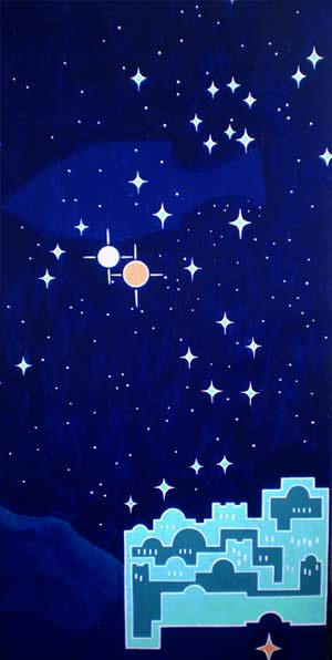Der Nachhimmel über Bethlehem im Jahre 7 vor der Zeitrechnung: Jupiter und Saturn im Sternzeichen der Fische, PSch