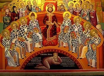 'Erstes ökumenisches Konzil zu Nizäa' 325 A.D. - Ikone vom Megalo Meteora Kloster, Griechenland