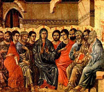 Altarbekrönung mit Pfingstzyklus, Szene: Pfingsten