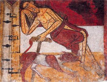 'Lazarus waiting at the door of Dives', ca. 1093, Mestre de Taüll