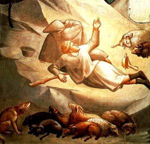 Verkündigung an die Hirten, Taddeo Gaddi, 14. Jhd., Ausschnitt, Baroncelli Kapelle, Santa Croce Kirche, Florenz