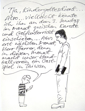 Karrikatur zum Kindergottesdienst, 1991, PSch