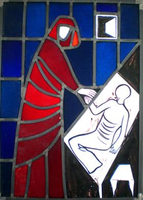 Herzlichen Dank an die Verwaltung des Martin-Niemöller-Hauses für die Erlaubnis, dieses Glasfensterbild 'Taten der Barmherzigkeit' auf unserer Website zu zeigen.