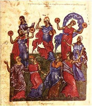 Miriams Tanz, Miniatur aus dem bulgarischen Tomić Psalter, 1360/63