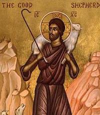Ausschnitt aus Ikone 'Good Shepherd', Ende des 19. Jhds.
