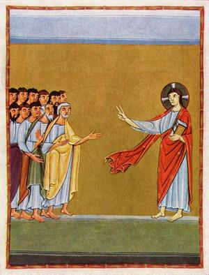 'Christus spricht zu den Jüngern', um 1010, Meister der Reichenauer Schule, Bayerische Staatsbibliothek