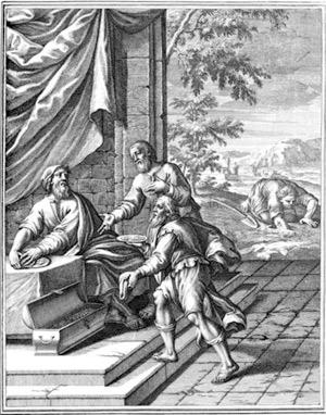 Woodcut from Historiae celebriores Veteris Testamenti Iconibus representatae. 1712.