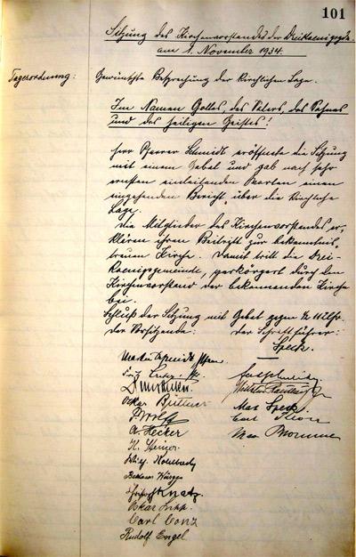 'Protokollblatt der KV-Sitzung vom 1. Nov. 1934', 2011, PSch