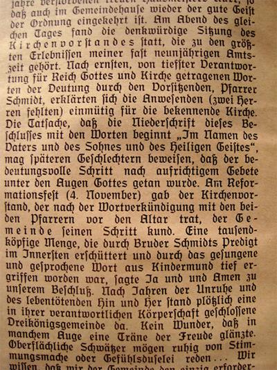 'Auszug des Berichtes aus dem Gemeindebrief vom Januar 1935', 2011, PSch