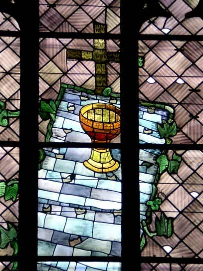 Heiliges Abendmahl - Ausschnitt aus Ostfenster von Charles Crodel, Dreikönigskirche