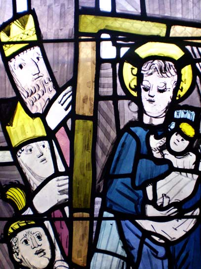 Die Drei Könige in Bethlehem - Ausschnitt aus Nordfenster von Charles Crodel, Dreikönigskirche