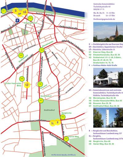 Stadtplan der Kirchen der Dreikönigsgemeinde