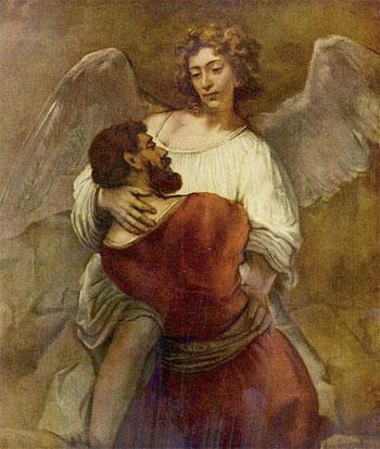 'Jakob ringt mit dem Engel', etwa 1659, Rembrandt, GNU Free Documentation License.