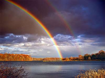 'Rainbows and departing storm clouds, Minsi Lake, Northampton County', 2006, Nicholas from Pennsylvania, USA