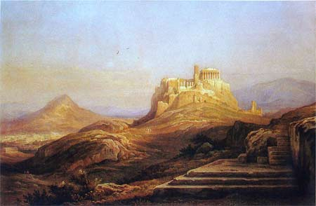 'View of the Acropolis from the Pynx', 1863, Rudolph Müller