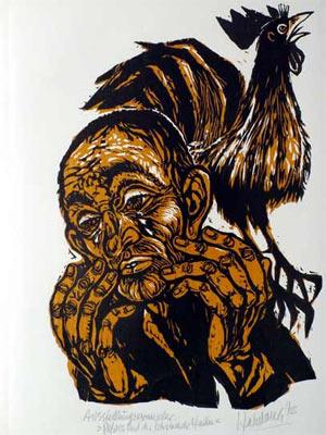 'Petrus und der schreiende Hahn', 1979 - Walter Habdank. © Galerie Habdank