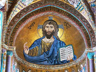 Christus Pantokrator in der Apsis der Kathedrale von Cefalu auf Sizilien, Gun Powder Ma, 2007.