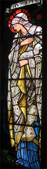 'Representation of 'Humility' in a stained-glass window designed by Edward Burne-Jones.', 2011, Phillip Medhurst