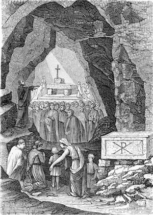 'Early Christians Worship in the Catacombs of Saint Calixtus', end of XIX c., anonimus