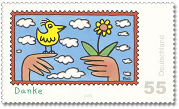 "Briefmarke, Serie Post, ""Danke"", Mai 2008, Motiv:Pop Art von James Rizzi, ""Danke"""