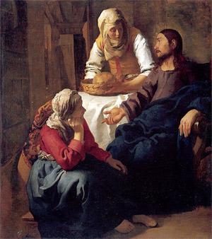 'Christus bei Maria und Martha', vor 1654-1655, Jan Vermeer van Delft
