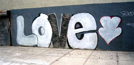 'Love graffiti on Saint Felix street', 2002, Colin Mutchler (activefree) from Brooklyn, United States