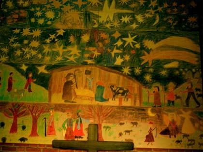 'Weihnachtsbild über dem Altar in der Bergkirche'