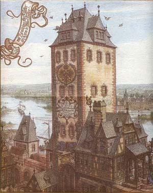 'Frankfurt Brückenturm um 1600', 1887, Frankfurt Archiv, Blatt F02012E