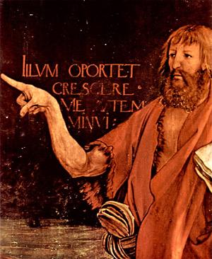 'Kreuzigung Christi, Detail: Hl. Johannes der Täufer', 1512-1516, Matthias Grünewald