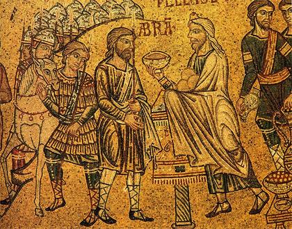 'Abraham meets Melchisedech', 13th century