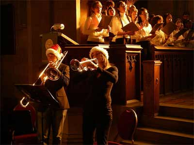 'Brass players with sunlight streaming into Knox College Chapel', 2007, Glogger