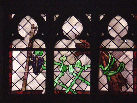 Heiliges Abendmahl - Ausschnitt aus Ostfenster (unteres Fenster) von Charles Crodel, Dreikönigskirche
