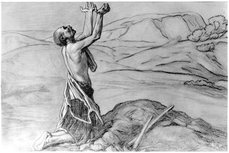 'Study for Prayer for Death in the Desert', circa 1867, Elihu Vedder