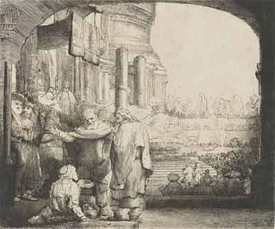 'Peter and John healing the cripple at the gate of the Temple', 1659, Rembrandt
