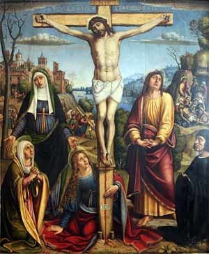 'Christus am Kreuz, betrauert von den drei Marien, Johannes und einem Stifter', 1514, Pier Francesco Sacchi