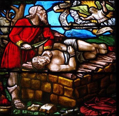 'Opfergang Abrahams', Vitrail de la Création, début du 16ème siècle, église de la Madeleine de Troyes