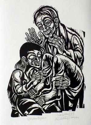 'Zu seinen Füßen', 1987 - Walter Habdank. © Galerie Habdank