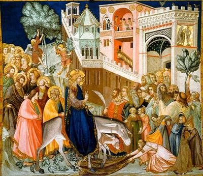 Assisi Fresco: 'Einzug Jesu in Jerusalem', 1320, Pietro Lorenzetti.