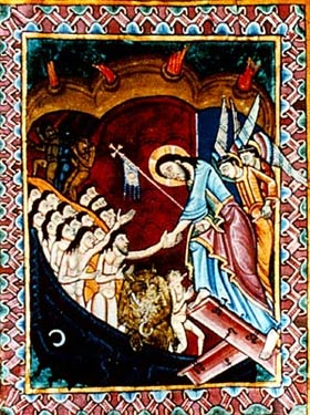 Christ's descent into Hell. Miniature from St. Albans Psalter, ca 1125