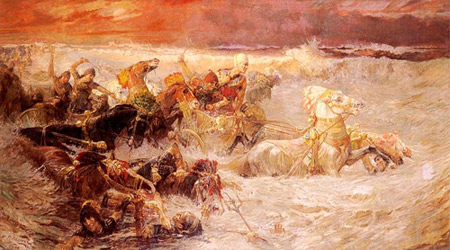 'Pharaoh's army engulfed by the Red Sea', 1900, Frederick Arthur Bridgman