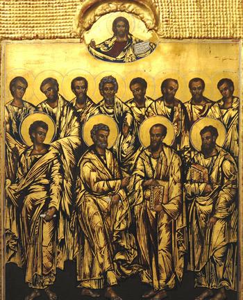 Die Zwölf Apostel überragt von Christus Pantokrator in einem Medaillon, 21. Jahrhundert. Хрюша, 2009