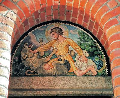 Immanuelskiche, Kopenhagen. Mosaik über der Tür, Ib Rasmussen, 2006