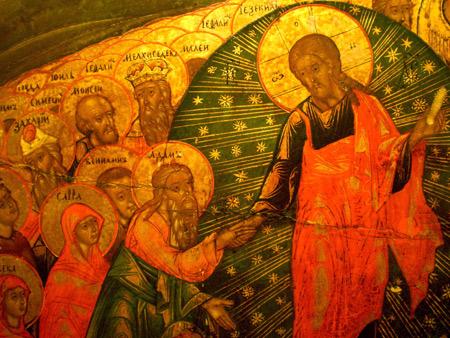 Ausschnitt aus 'Auferstehungsikone', Ikonenmuseum Frankfurt