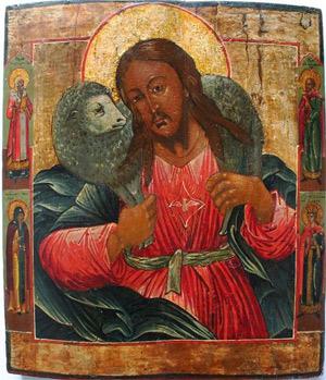 Russische Ikone 'Good Shepherd', 19. Jhd.