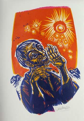'Der Seher', 1987. Offenbarung 1, 10-11 - Walter Habdank. © Galerie Habdank